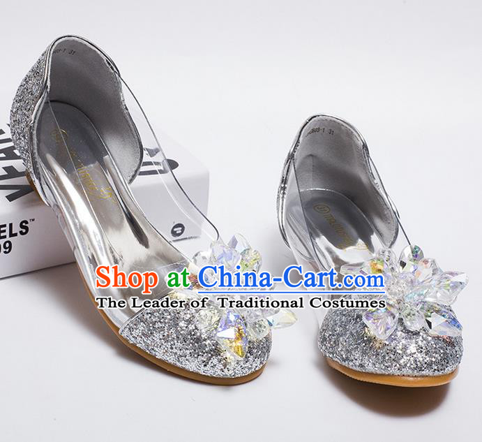 Top Grade Handmade Classical Crystal Dance Shoes, Children Baroque Style Wedding Princess silver Dance Shoes for Girls