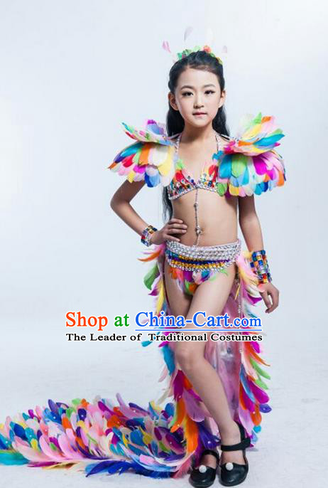Top Grade Compere Professional Performance Catwalks Swimsuit Costume, Children Chorus Customize Colorful Feathers Bikini Full Dress Modern Dance Baby Princess Modern Fancywork Long Trailing Clothing for Girls Kids