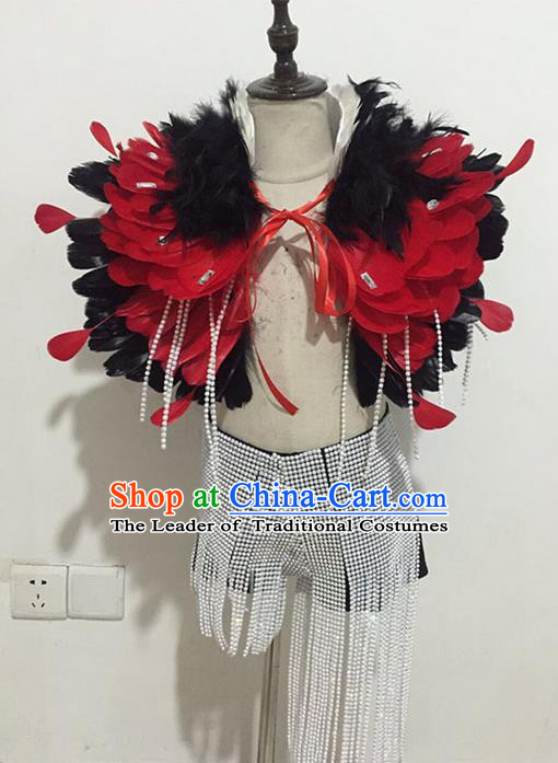 Top Grade Compere Professional Performance Catwalks Swimsuit Costume, Children Chorus Feather Formal Dress Modern Dance Modern Fancywork Clothing for Boys Kids