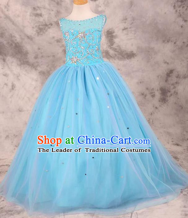 Top Grade Compere Professional Performance Catwalks Costume, Children Chorus Blue Bubble Wedding Full Dress Modern Dance Baby Princess Modern Fancywork Dress for Girls Kids