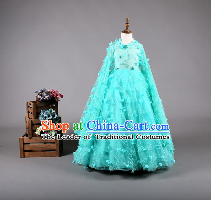 Top Grade Compere Professional Performance Catwalks Costume, Children Chorus Blue Bubble Batwing Sleeve Full Dress Modern Dance Baby Princess Modern Fancywork Dress for Girls Kids