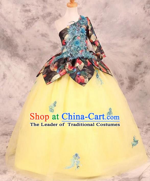 Top Grade Compere Professional Performance Catwalks Costume, Children Chorus Yellow Bubble Wedding Full Dress Modern Dance Baby Princess Modern Fancywork Dress for Girls Kids