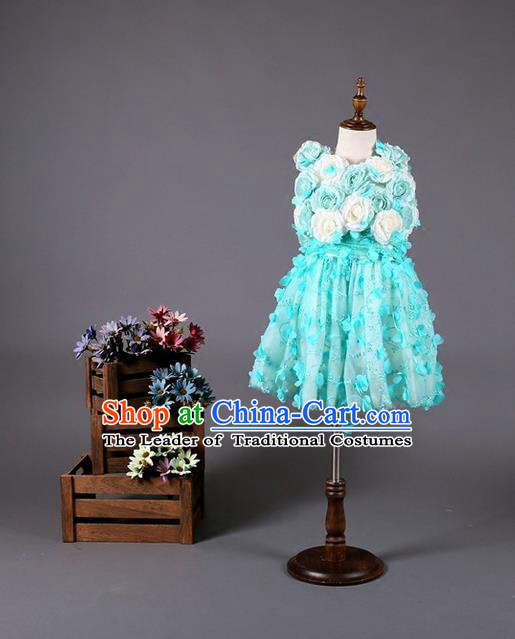 Top Grade Compere Professional Performance Catwalks Costume, Children Chorus Customize Blue Flowers Bubble Full Dress Modern Dance Baby Princess Modern Fancywork Short Dress for Girls Kids
