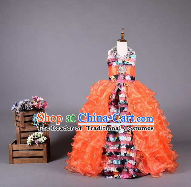 Top Grade Compere Professional Performance Catwalks Costume, Children Chorus Customize Red Flowers Bubble Full Dress Modern Dance Baby Princess Modern Fancywork Long Ball Gown Dress for Girls Kids