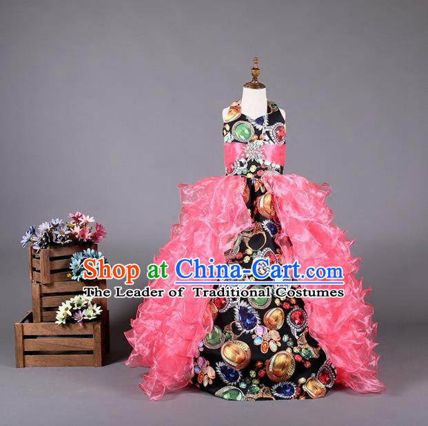 Top Grade Compere Professional Performance Catwalks Costume, Children Chorus Customize Pink Bubble Veil Full Dress Modern Dance Baby Princess Modern Fancywork Long Ball Gown Dress for Girls Kids