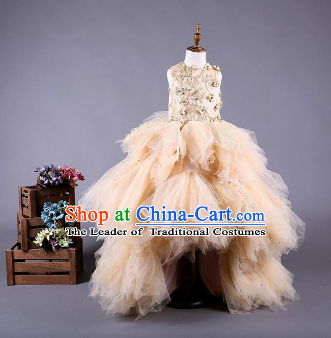 Top Grade Compere Professional Performance Catwalks Costume, Children Chorus Customize Champagne Bubble Veil Diamante Full Dress Modern Dance Baby Princess Modern Fancywork Long Trailing Ball Gown Dress for Girls Kids