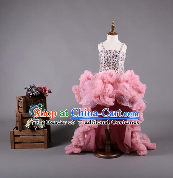 Top Grade Compere Professional Performance Catwalks Costume, Children Chorus Customize Pink Bubble Full Dress Modern Dance Baby Princess Modern Fancywork Long Trailing Dress for Girls Kids