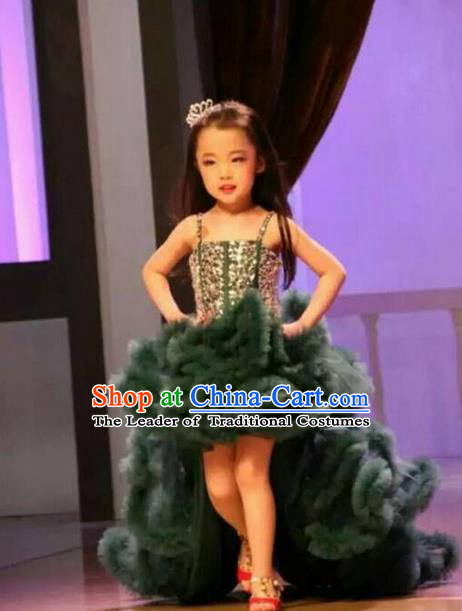 Top Grade Compere Professional Performance Catwalks Costume, Children Chorus Customize Green Bubble Full Dress Modern Dance Baby Princess Modern Fancywork Long Trailing Dress for Girls Kids