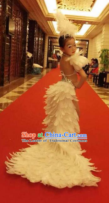 Top Grade Compere Professional Performance Catwalks Swimsuit Costume, Children Chorus Customize White Full Dress Modern Dance Baby Princess Modern Fancywork Long Trailing Clothing for Girls Kids