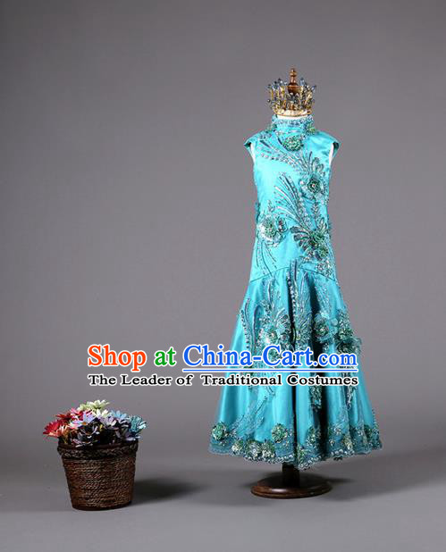 Top Grade Compere Professional Performance Catwalks Costume, China Tang Suit Blue Cheongsam Children Chorus Fishtail Full Dress Modern Dance Baby Princess Modern Fancywork Long Dress for Girls Kids