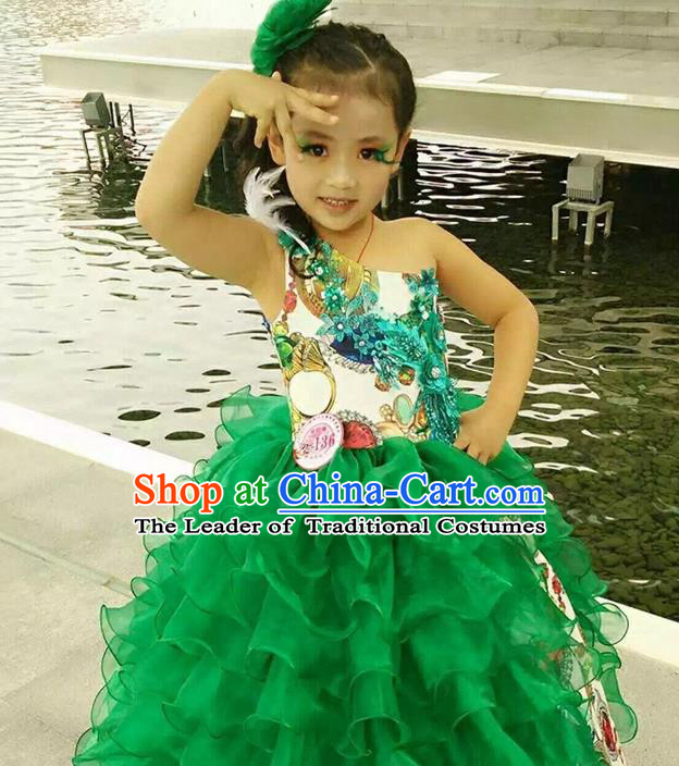 Top Grade Compere Professional Performance Catwalks Costume, Children Chorus Green Bubble Full Dress Modern Dance Baby Princess Modern Fancywork Short Dress for Girls Kids