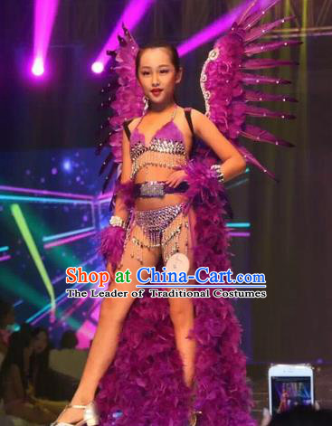 Top Grade Compere Professional Performance Catwalks Swimsuit Costume, Children Chorus Customize Purple Bikini Full Dress Modern Dance Baby Princess Modern Fancywork Long Trailing Clothing for Girls Kids