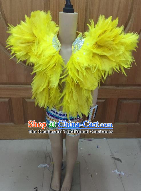 Top Grade Compere Professional Performance Catwalks Swimsuit Costume, Children Chorus Yellow Feather Formal Dress Modern Dance Modern Fancywork Clothing for Boys Kids