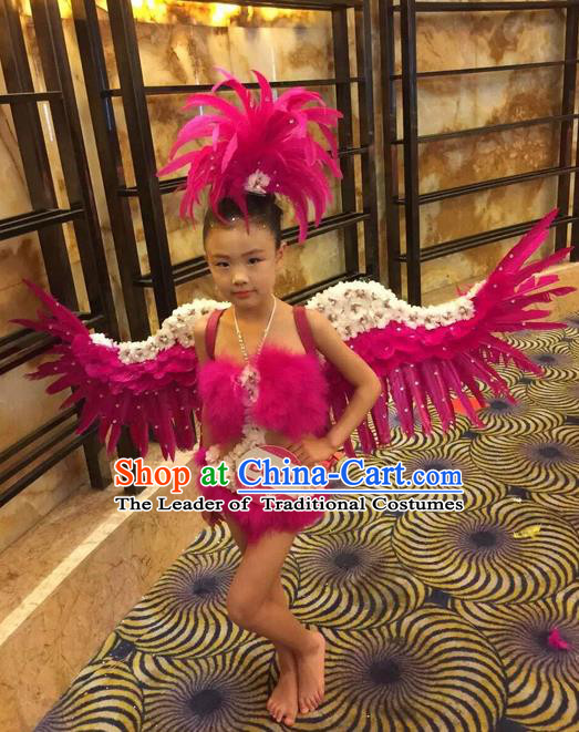 Top Grade Compere Professional Performance Catwalks Swimsuit Costume, Children Chorus Customize Rose Bikini Full Dress With Wings Modern Dance Baby Princess Modern Fancywork Long Trailing Clothing for Girls Kids