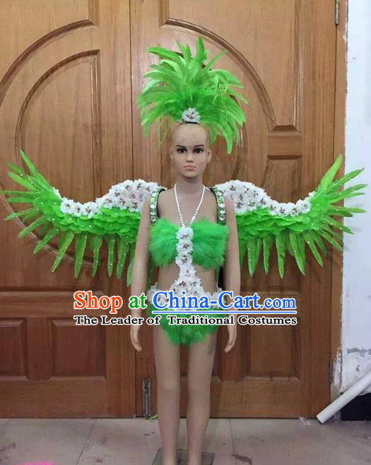 Top Grade Compere Professional Performance Catwalks Swimsuit Costume, Children Chorus Customize Green Bikini Full Dress With Wings Modern Dance Baby Princess Modern Fancywork Long Trailing Clothing for Girls Kids