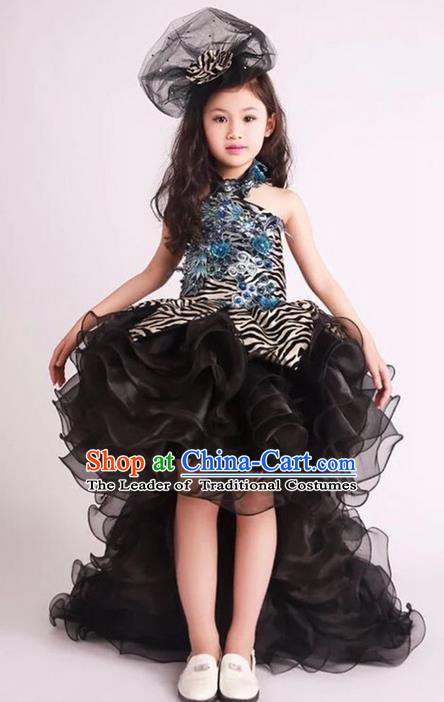 Top Grade Compere Professional Performance Catwalks Long Trailing Costume, Children Chorus Black Veil Full Dress Modern Dance Baby Princess Modern Fancywork Bubble Dress for Girls Kids