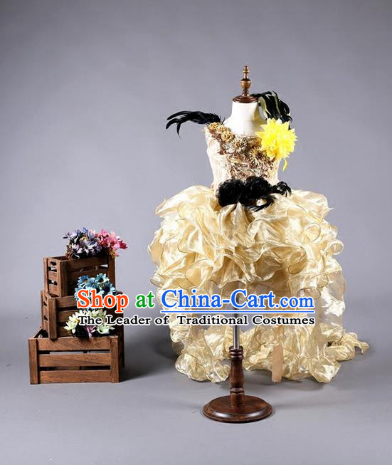 Top Grade Compere Professional Performance Catwalks Long Trailing Costume, Children Chorus Golden Veil Full Dress Modern Dance Baby Princess Modern Fancywork Bubble Dress for Girls Kids