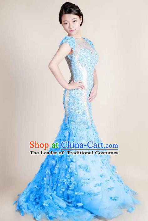 Top Grade Compere Professional Performance Catwalks Trailing Costume, Children Chorus Blue Fishtail Full Dress Modern Dance Baby Princess Modern Fancywork Mermaid Dress for Girls Kids