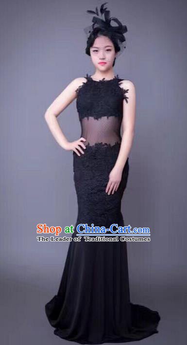 Top Grade Compere Professional Performance Catwalks Trailing Costume, Children Chorus Black Backless Fishtail Full Dress Modern Dance Baby Princess Modern Fancywork Mermaid Dress for Girls Kids