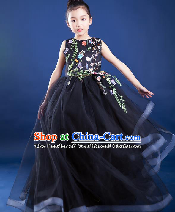 Top Grade Compere Professional Performance Catwalks Trailing Costume, Children Chorus Black Big Swing Veil Fishtail Full Dress Modern Dance Baby Princess Modern Fancywork Long Dress for Girls Kids