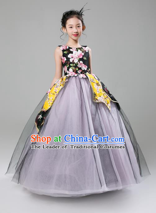 Top Grade Professional Compere Performance Catwalks Costume, Children Chorus Singing Group Bubble Full Dress Modern Dance Ball Gown Dress for Girls Kids