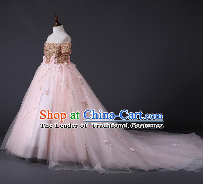 Top Grade Compere Professional Performance Catwalks Costume, Children Chorus Customize Pink Wedding Bubble Full Dress Modern Dance Baby Princess Modern Fancywork Long Trailing Dress for Girls Kids