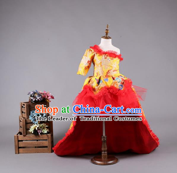 Top Grade Compere Professional Performance Catwalks Costume, China Style Tang Suit Children Chorus Customize Bubble Full Dress Modern Dance Baby Princess Modern Fancywork Long Trailing Dress for Girls Kids