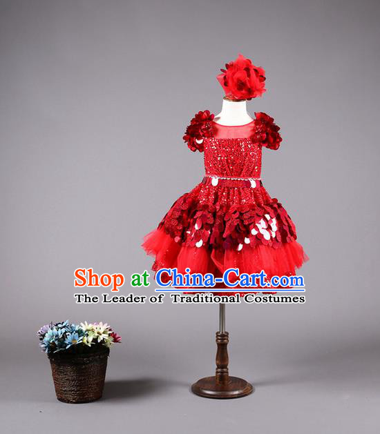 Top Grade Compere Professional Performance Catwalks Costume, Children Chorus Customize Red Paillette Bubble Full Dress Modern Dance Baby Princess Modern Fancywork Short Ball Gown Dress for Girls Kids