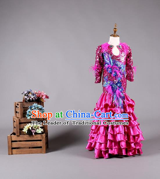 Top Grade Compere Professional Performance Catwalks Costume, Children Chorus Customize Fishtail Bubble Full Dress Modern Dance Baby Princess Modern Fancywork Long Ball Gown Mermaid Dress for Girls Kids