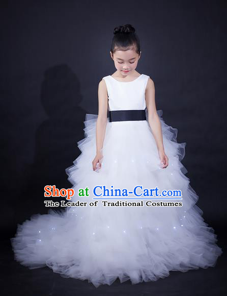 Top Grade Compere Professional Performance Catwalks Trailing Costume, Children Chorus White Wedding Bubble Veil Fishtail Full Dress Modern Dance Baby Princess Modern Fancywork Long Dress for Girls Kids
