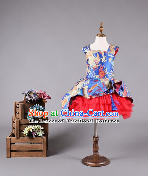 Top Grade Compere Professional Performance Catwalks Costume, China Style Tang Suit Dragon Children Chorus Customize Bubble Full Dress Modern Dance Baby Princess Modern Fancywork Short Ball Gown Dress for Girls Kids