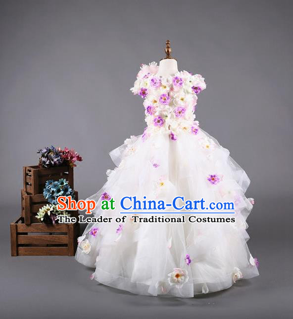 Top Grade Compere Professional Performance Catwalks Costume, Flower Faerie Children Chorus Customize White Bubble Full Dress Modern Dance Baby Princess Modern Fancywork Long Ball Gown Dress for Girls Kids
