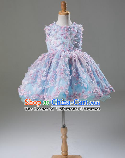 Top Grade Compere Professional Performance Catwalks Costume, Flower Faerie Children Chorus Customize Blue Bubble Full Dress Modern Dance Baby Princess Modern Fancywork Short Ball Gown Dress for Girls Kids