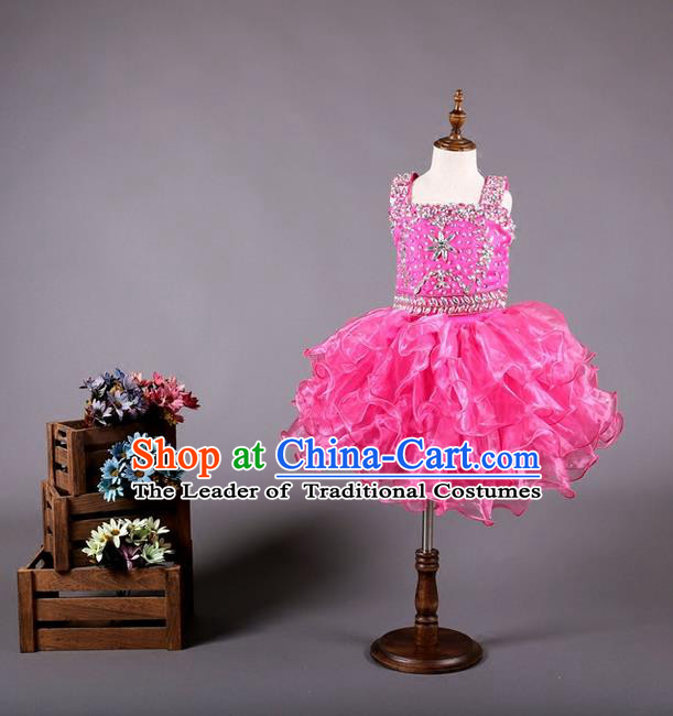 Top Grade Compere Professional Performance Catwalks Costume, Flower Faerie Children Chorus Customize Pink Bubble Full Dress Modern Dance Baby Princess Modern Fancywork Short Ball Gown Dress for Girls Kids