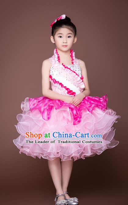 Top Grade Compere Professional Performance Catwalks Costume, Children Chorus Pink Wedding Bubble Veil Full Dress Modern Dance Baby Princess Modern Fancywork Short Dress for Girls Kids