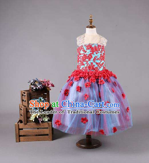 Top Grade Compere Professional Performance Catwalks Costume, Red Flower Faerie Children Chorus Customize Bubble Full Dress Modern Dance Baby Princess Modern Fancywork Short Ball Gown Dress for Girls Kids