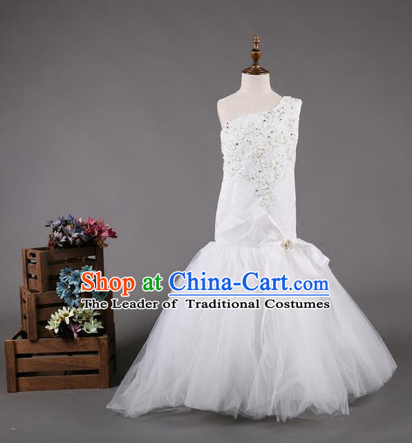 Top Grade Compere Professional Performance Catwalks Costume, Wedding White Veil Children Chorus Customize Fishtail Full Dress Modern Dance Baby Princess Modern Fancywork Mermaid Dress for Girls Kids