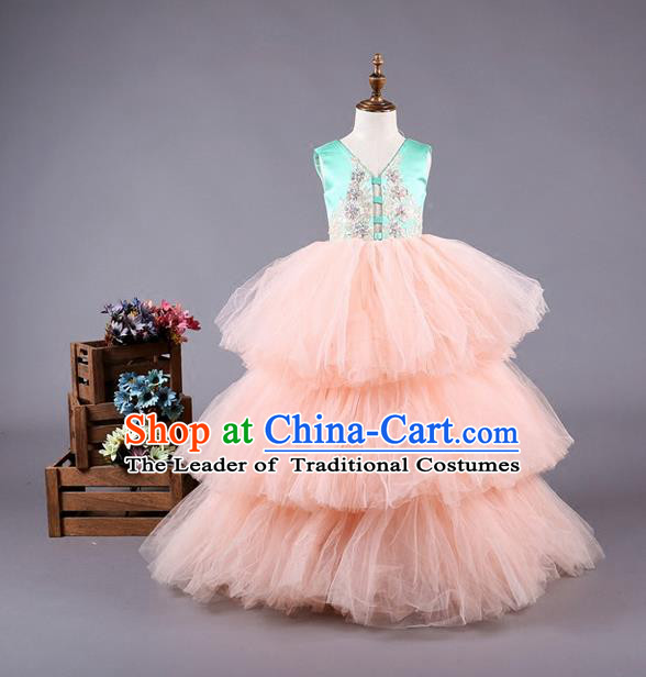 Top Grade Professional Compere Performance Catwalks Costume, Children Chorus Customize Bubble Full Dress Modern Dance Baby Princess Modern Fancywork Ball Gown Dress for Girls Kids