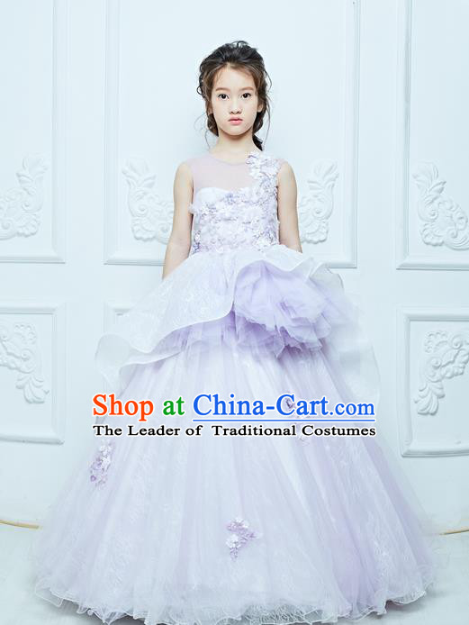 Top Grade Professional Compere Performance Catwalks Costume, Children Chorus Customize Light Purple Bubble Full Dress Modern Dance Baby Queen Modern Fancywork Long Ball Gown Dress for Girls Kids
