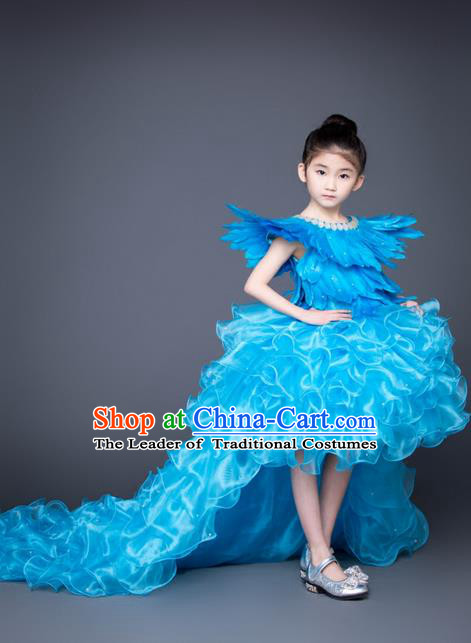 Top Grade Compere Professional Performance Catwalks Trailing Costume, Children Chorus Blue Feather Bubble Full Dress Modern Dance Baby Princess Modern Fancywork Short Dress for Girls Kids