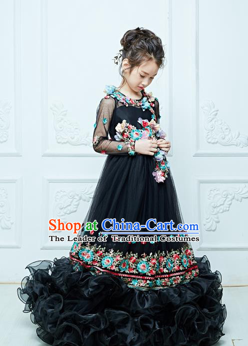 Top Grade Professional Compere Performance Catwalks Embroidery Costume, Children Chorus Customize Flower Fairy Wedding Black Veil Bubble Trailing Full Dress Modern Dance Baby Queen Modern Fancywork Long Ball Gown Dress for Girls Kids