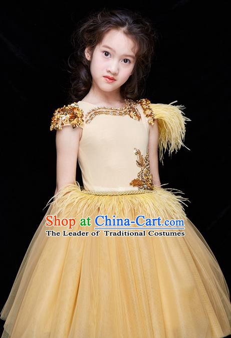 Top Grade Professional Compere Performance Catwalks Costume, Children Chorus Customize Wedding Veil Bubble Detachable Trailing Golden Full Dress Modern Dance Baby Princess Modern Fancywork Short Ball Gown Dress for Girls Kids