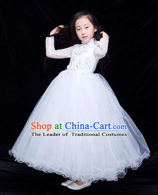 Top Grade Professional Compere Performance Catwalks Costume, Children Chorus Baby Princess Wedding White Veil Full Dress Modern Dance Modern Fancywork Ball Gown Dress for Girls Kids