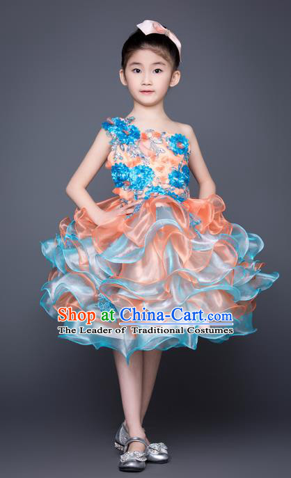 Top Grade Compere Professional Performance Catwalks Costume, Children Chorus Blue Feather Bubble Full Dress Modern Dance Baby Princess Modern Fancywork Short Dress for Girls Kids