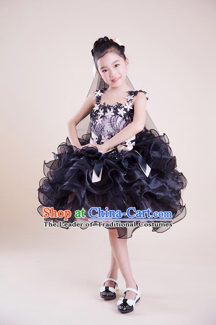Top Grade Compere Professional Performance Catwalks Costume, Children Chorus Black Bubble Full Dress Modern Dance Baby Princess Modern Fancywork Short Dress for Girls Kids