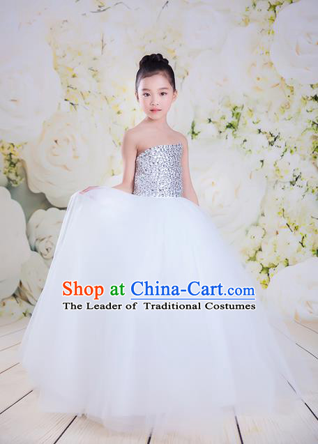 Top Grade Compere Professional Performance Catwalks Costume, Children Chorus White Veil Wedding Bubble Full Dress Modern Dance Baby Princess Modern Fancywork Long Ball Gown Dress for Girls Kids