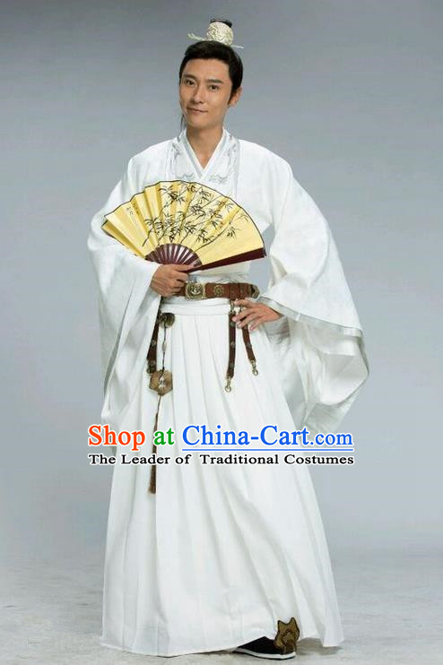 Traditional Chinese Ancient Imperial Dandies Scholar Costume and Handmade Headpiece Complete Set, Chinese Northern and Southern Dynasties Prince Suits, Chinese Television Tokgo World Nobility Childe Embroidered Hanfu Clothing for Men