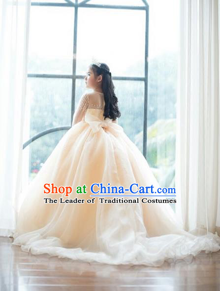 Top Grade Compere Professional Performance Catwalks Swimsuit Costume, Children Chorus Customize Wedding Veil Full Dress Modern Dance Baby Princess Modern Fancywork Long Trailing Clothing for Girls Kids