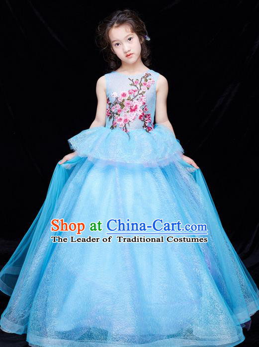 Top Grade Compere Professional Performance Catwalks Swimsuit Costume, Children Chorus Flower Faerie Customize Blue Wedding Veil Full Dress Modern Dance Baby Princess Modern Fancywork Long Trailing Clothing for Girls Kids