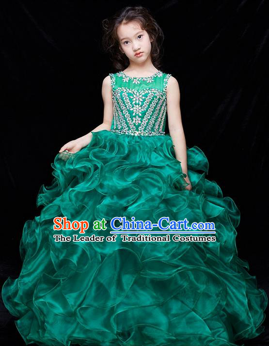 Top Grade Compere Professional Performance Catwalks Swimsuit Costume, Children Chorus Flower Faerie Customize Green Wedding Veil Bubble Full Dress Modern Dance Baby Princess Modern Fancywork Long Dress for Girls Kids
